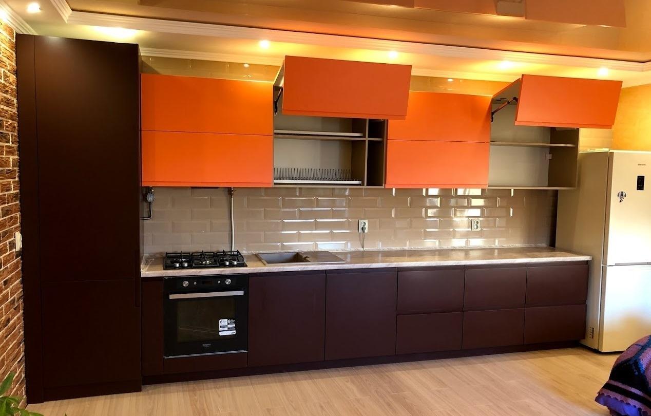 Встроенная кухня-Кухня МДФ в эмали «Модель 571»-фото1